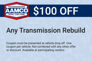 $100 off any transmission rebuild coupon
